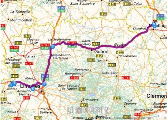 Carte trajet Saint Junien à Montluçon